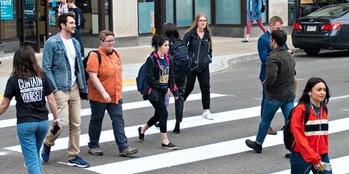 students in a cross walk